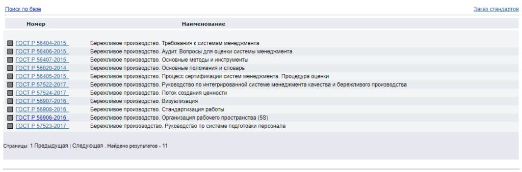 Результат поиска документов по каталогу на сайте РОССТАНДАРТа